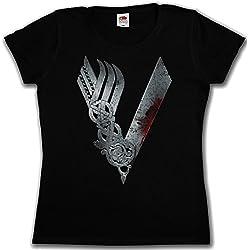 VIKINGS LOGO CELTIC MUJER GIRLIE WOMAN T-SHIRT - TV Series Yggdrasil Ragnar Vikingos escandinavo Ragnarök Thor Vikings MUJER GIRLIE WOMAN T-SHIRT Tamaños S - 5XL