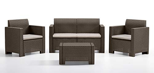 Bica 9067.3 Set Nebraska Salottino 4 Posti, Marrone, 281 x 155 x 79 cm
