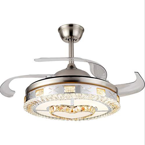 Ventilatore da soffitto Invisibile Retrattile lampadario Luce Fan di Cristallo da 42 Pollici...