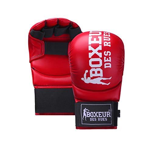 BOXEUR DES RUES Serie Fight Activewear, Guanti da Karate E Fit-Boxing Unisex Adulto, Rosso, M