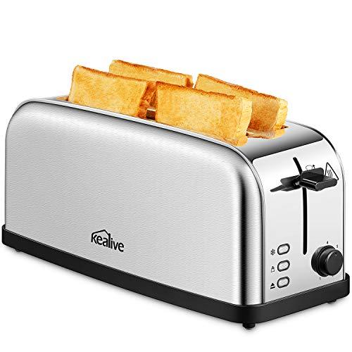Toaster, Kealive Automatic Toaster Langschlitz 4 Scheiben, 1500W Toaster Edelstahl with 7 Stufen   Automatic Bread ZENT Rierung   Defrost Funktion   Herausziehbare Krümelschublade, Silver