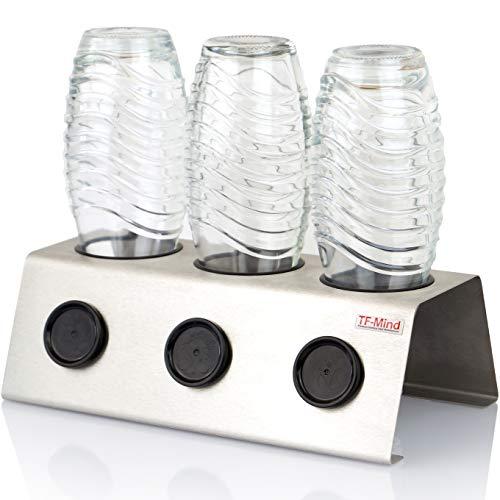 TF-Mind Premium Abtropfhalter für alle Sodastream Flaschen Glas und PET Emil aus Edelstahl Flaschenhalter Abtropfständer Deckelhalterung Abtropfgestell 3-Fach Halter