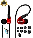 Over Ear In-ear Headphones Earbuds for Kids Women Small Ears, Sports Earphones for Running Workout Exercise Jogging, Wired Ear Buds with Microphone and Volume Control for Cell Phones MP3 Red