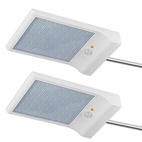 2 Pezzi Luce Solare 42 LED Lampada con Sensore di Movimento Wireless Lampade da parete 6000K bianco...