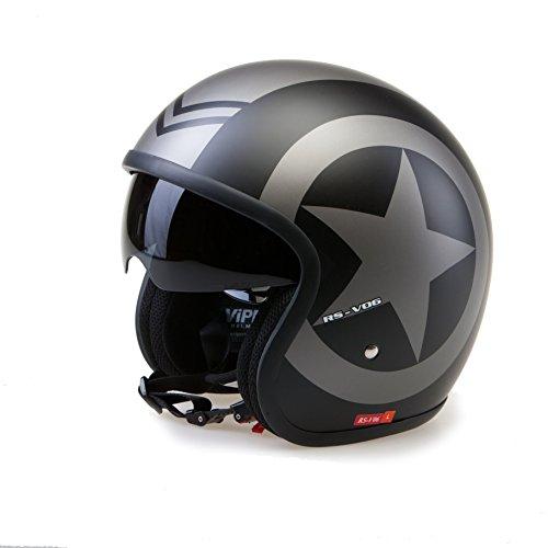 Viper Helmets Motorradhelm Rsv06, Matt Black Star, 61-62 cm