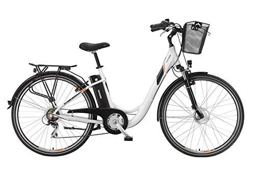 Telefunken Bike Mujer eléctrico bicicleta aluminio 28pulgadas con 7marchas Shimano, Pedelec-Bicicleta Ligera con cesta, 250W, 36V y 10Ah Tubo de Asiento batería, RC736Multi Talent