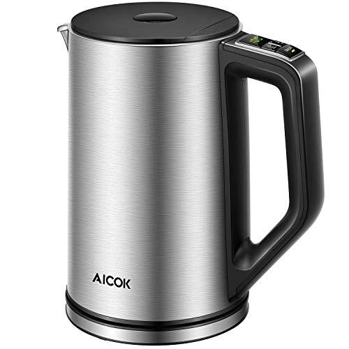 Bollitore Elettrico, Temperatura Regolabile Bollitore Aicok, Doppio anti-caldo in Acciaio Inox, BPA...