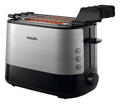 Philips HD2639/90 Viva Collection Tostapane con Lati in Metallo e Pinza per Sandwich, 730 W