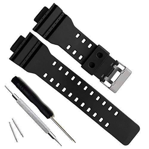 GD120/GA-100/GA-110/GA-100C Cinturino di ricambio in resina naturale per Casio G-Shock da uomo (Black)