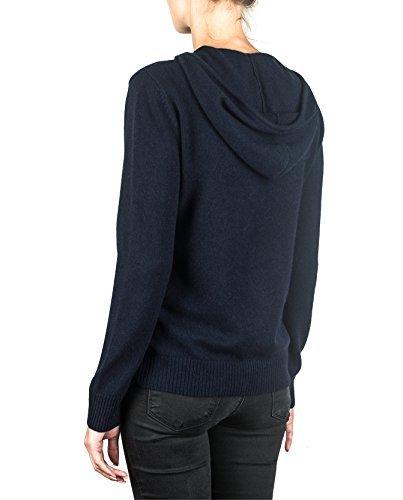 100% Kaschmir Damen Kapuzenpullover | Hoodie mit Reißverschluss (Blau / Marine, S) - 2