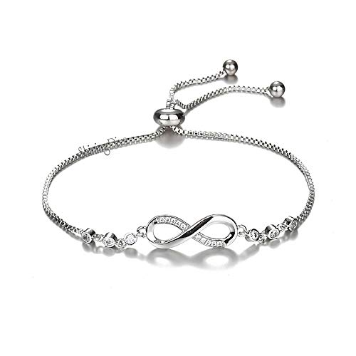 Shining Diva Fashion Infinity Crystal Charm Silver Plated Bracelet for Women and Girls (Silver) (10672b)