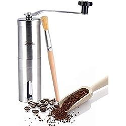 Queta Molinillo de Café Manual,Portátil Mano de Molienda,manual molinillo de café acero inoxidable ajustable cónico Burr manivela cerámica molino muele granos especias cepillado