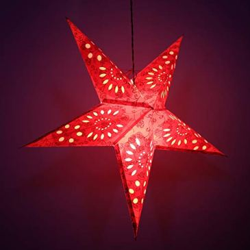 décoratif Festive Lanterne de Noël à suspendre Étoile en papier lampe étoile rouge lampe 55,9cm de diamètre