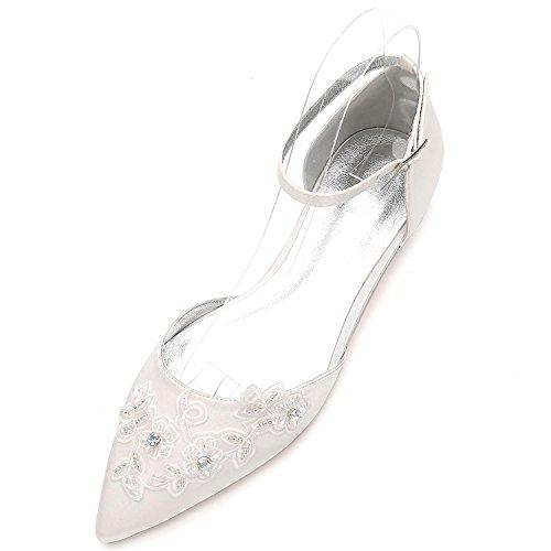 pretty nice 69319 2eedc Elegant high shoes Scarpe da Cerimonia Nuziale da Donna 5047-16 Scarpe con  Fibbia Fiori Scarpe Basse con Plateau, Ivory, 43 - Prezzo lato
