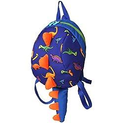 Bolso de guardería de mini caricatura, bolsa infantil anti-perdida, pequeña y linda tela de dinosaurio de dibujos animados cómoda, transpirable, bandolera para niños, mochila pequeña de dinosaurio par