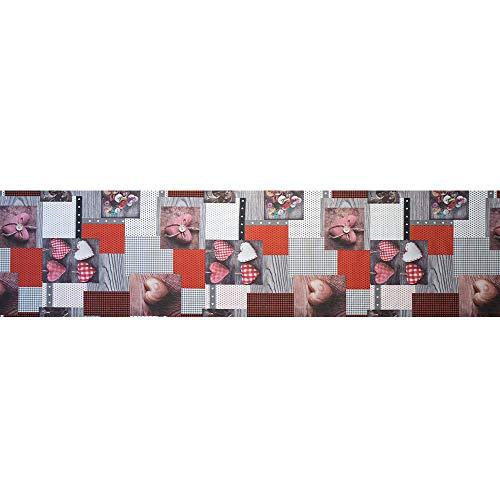 Passatoia tappeto cucina stampa digitale Cuori colori brillanti lavabile antiscivolo varie misure -...