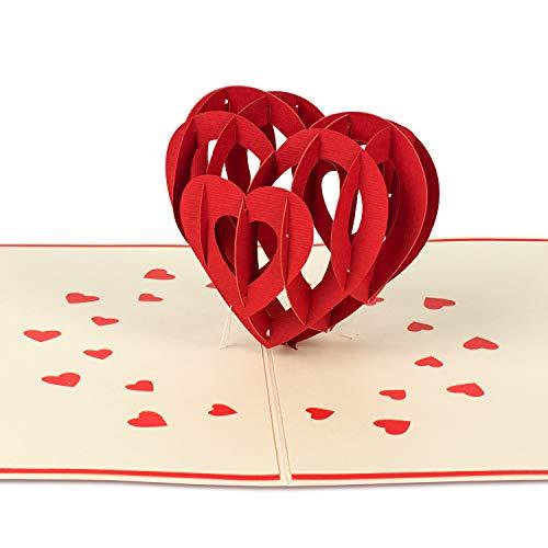 PaperCrush® Pop-Up Karte Liebe (Groß) - 3D Liebeskarte, Geburtstagskarte mit Herz für Frauen und Männer - Herzkarte zum Jahrestag, Hochzeitstag (Ich Liebe Dich)