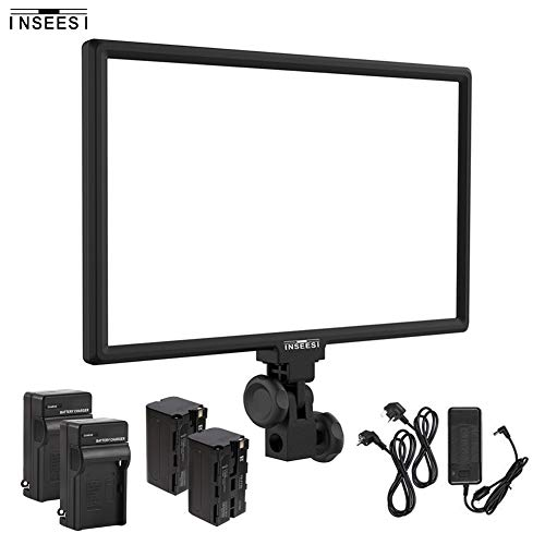 Inseesi IN-600 CRI95 3200K-5600K Bi-color LED Video Light Dimmable Flat Panel Light for YouTube...