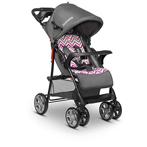 Lionelo Emma Plus Passeggino leggero moderno piccolo passeggino pieghevole con posizione sdraiata (Pink Scandi)