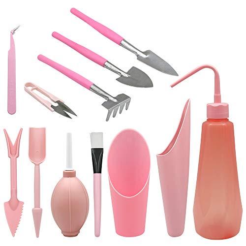 herramientas suculentas de trasplante de color rosa, 12 piezas de mini herramientas manuales de jardín, perfectas para un entusiasta de la jardinería suculenta