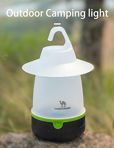 CAMEL CROWN LED Camping Lámpara,Lámpara portátil luz nocturna con 3 funciones, Luz de emergencia para acampada tienda de campaña Senderismo Pesca Nocturna, batteriebetriebenes, Exterior o Interior
