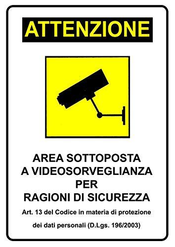 Offershop Cartello Segnaletica Attenzione Area Sottoposta a Videosorveglianza per Ragioni di Sicurezza Video Sorveglianza Privacy 20X30 cm