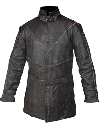 Flesh & Hide F&H Men's Watch Dogs Aiden Pearce Genuine Leather Trench Coat 5XL Brown