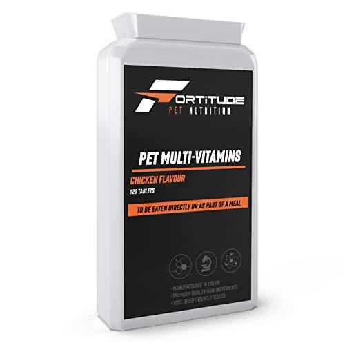 Fortitude Pet Nutrition Multivitaminas para Mascotas | Suplemento multivitamínico para Perros | 120 tabletas masticables con Sabor a Pollo
