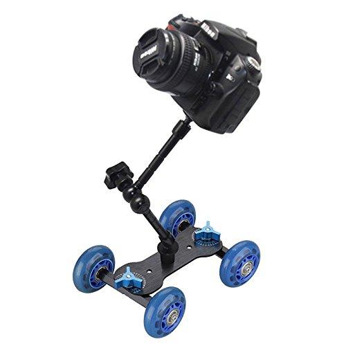 "SLB Works Camera Video Rail Rolling Track Slider Skater Mobile Dolly Car w/11"" Magic Arm 7"