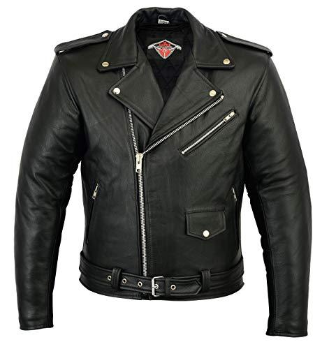 Giacca da uomo motociclo in stile Marlon Brando - pelle bovina - nero- Taglia L - circonferenza del petto 106,5cm