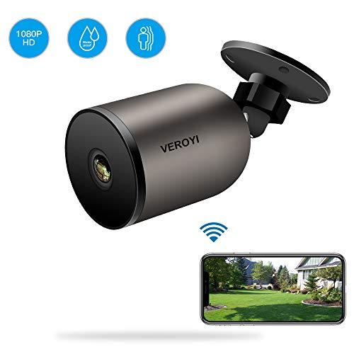 Veroyi Telecamera di sicurezza per esterni 1080P WiFi IP per sorveglianza domestica con audio bidirezionale, IP66 impermeabile, visione notturna, rilevazione di movimento