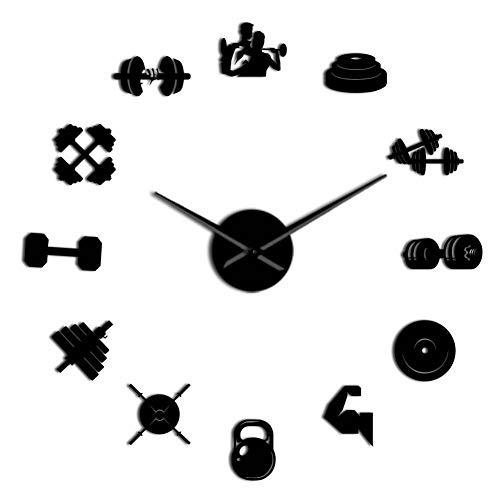 Orologio da Parete Bodybuilder Sport 3D Orologio da Parete Fai-da-Te Unico Regalo per Bodybuilding per Amante del Fitness Palestra Acrilico Effetto Specchio Orologio da Parete Decor Orologio