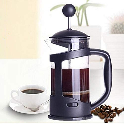 Generic 350ML Dual Purpose Glass Coffee Press Pot Coffee Tea Maker Household Blunt Tea Device Kitchen Tool-25: Black