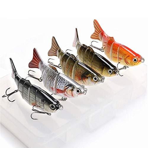 DALMFisher 5 x Wobbler Set Jerkbait 100 mm, 18 g, Accessori per Pesca con Esche Rosse con Gancio per luccio, persico, luccioperca, siluro e siluro con Pratica Scatola