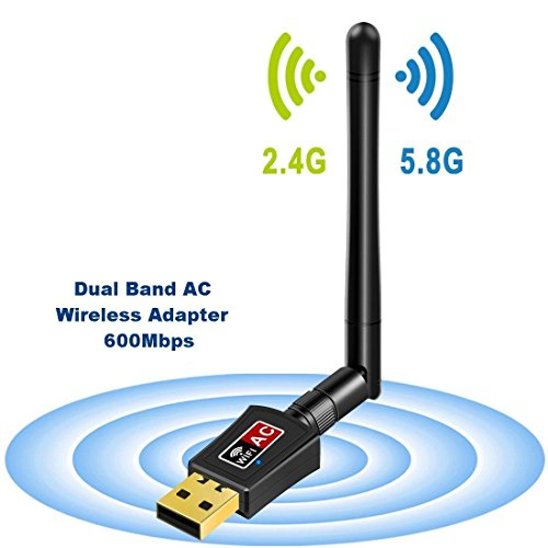 Adattatore Antenna USB WiFi a Lunga Distanza Chiavetta Wifi con Antenna 5dBi Ricevitore WiFi 600Mbps...