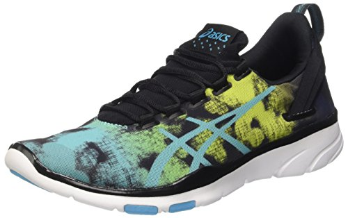 Asics Gel-fit Sana 2-Graphic, Zapatillas Deportivas para Interior para Mujer, (Black/Aquarium/Neon Lime) 39.5 EU
