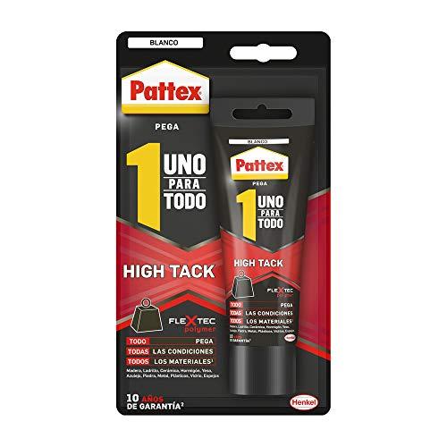 Pattex Uno Para Todo HighTack, adhesivo de montaje resistente a temperaturas extremas, pegamento fuerte para superficies húmedas, adhesivo blanco, 1 tubo x 142 g