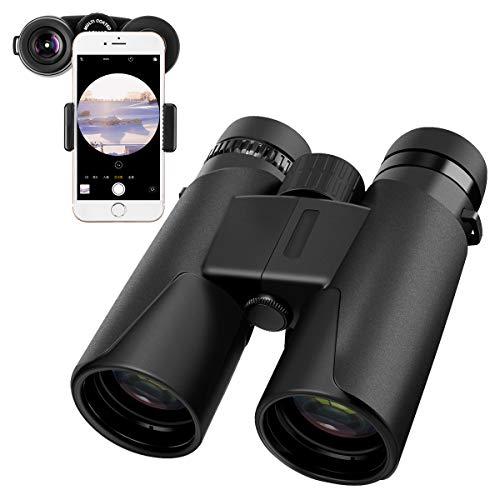 Sawake Prismáticos binoculares compactos Telescopio con Adaptador de teléfono len Recubierto de múltiples Capas Soporte IP5 Impermeable para la observación de Aves Fútbol Safari Excursiones