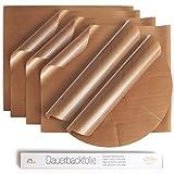 Amazy Dauerbackfolie (6er Set) - Das Premium Backpapier - Wiederverwendbar, hitzebeständig, antihaftbeschichtet und spülmaschinenfest (6er Pack - 4 x eckig, 2 x rund)