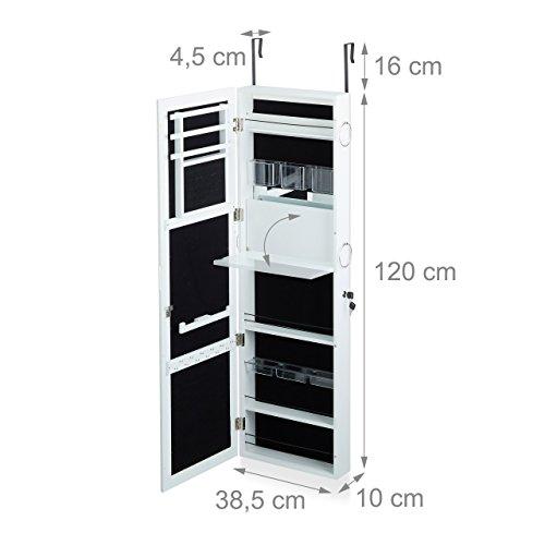 Relaxdays Schmuckschrank mit Spiegel abschließbar, Spiegelschrank groß hängend für Tür, HxBxT: 120 x 38,5 x 10 cm, weiß - 3