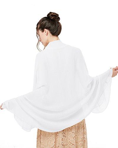 bridesmay Damen Strand Scarves Sonnenschutz Schal Sommer Tuch Stola für Kleider in 29 Farben White