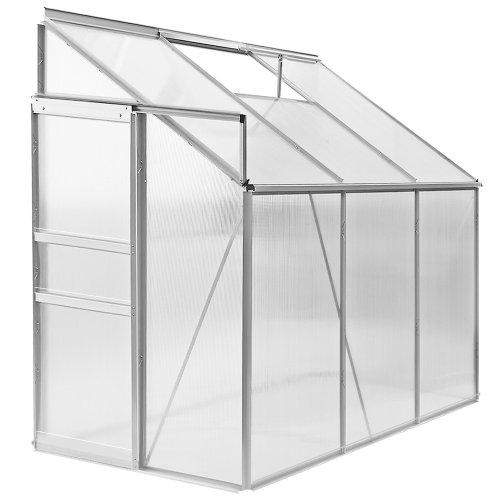 Deuba Lean to Greenhouse Polycarbonate Window Vent 192x127x202cm Aluminium Grow Hot House - 4.9m³