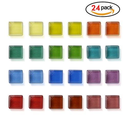 Hemore Magnete di vetro trasparente quadrato decorativo per ufficio casa foto cucina frigorifero...