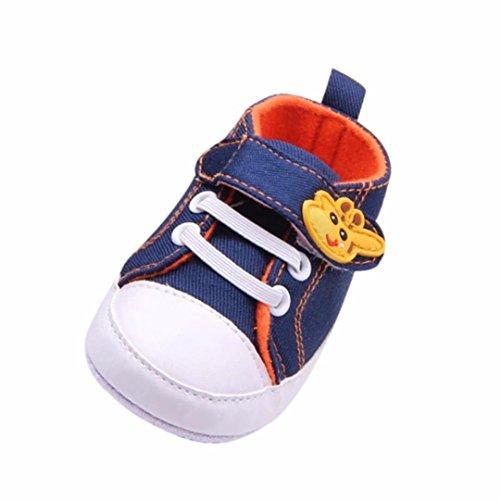 Scarpe Neonato Unisex in Pelle Morbida - Sneaker Antiscivolo - Scarpe da Ginnastica Basse Unisex - Modello di Giraffa (età: 0~6 Mesi, Azzurro)