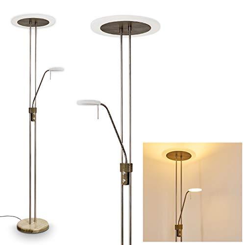 LED Stehlampe Ligona aus Metall in Nickel-matt/Holz-Optik, dimmbare Stehleuchte m. Touch-Dimmer am Gehäuse, 26 Watt u. 4,5 Watt, 3750 Lumen (insges.), 3000 Kelvin, Bodenlampe mi. verstellbarem Lesearm