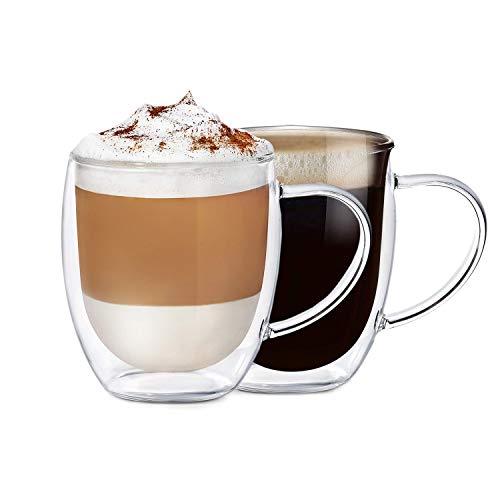 BOQO Tazza in Vetro a Doppia Parete, Bicchiere Tazzine,Bicchieri Vetro,Calici da Acqua,tè e caffè...