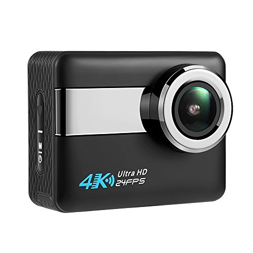 "Axeto N6 4K Wifi Action Camera, 2.31"" LCD Touchscreen 20MP Sony Image Sensor 170° Wide-Angle Waterproof, Remote,2 Batteries With Kit (Black)"