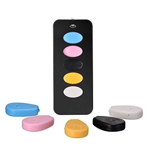 HueLiv buscador dominante sin hilos, 5 en 1 de Largo Alcance del localizador de objetos, con 1 transmisor y 5 receptores, con luz de flash