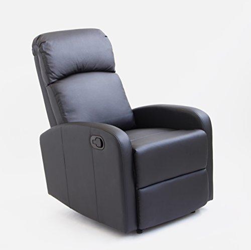 ASTAN HOGAR Confort Poltrona Relax Meccanismo con inclinazione Manuale. Sistema Parete Zero, in Pelle Sintetica di Alta densità (Full Pu), Nero, Compatto, poliuretano