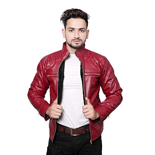Life Trading Hot Released Faux Leather Jacket for Mens and Boys (Maroon, Medium)